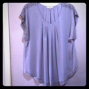 Sheer light blue top with studs